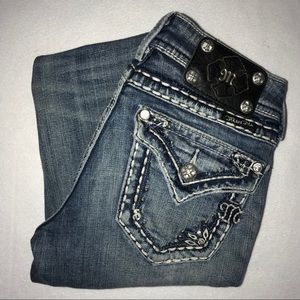 Miss Me Embellished Studded Straight Jeans 25 32